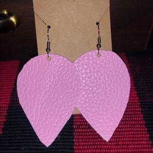 Pink faux leather earrings
